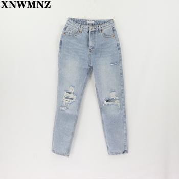 Za Vintage dżinsy dla mamy dżinsy z wysokim stanem kobieta zgrywanie damskie dżinsy typu boyfriend koreański styl jeansy w stylu distressed niebieskie dżinsy tanie i dobre opinie XNWMNZ COTTON Pełnej długości CN (pochodzenie) Wieku 16-28 lat msd1503-65 WOMEN Na co dzień Zmiękczania Wysokiej Zipper fly