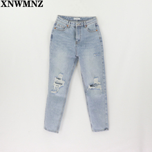 Za Vintage mom jeans high waisted jeans woman ripped boyfriend jeans for women korean style  distressed jeans blue denim pants