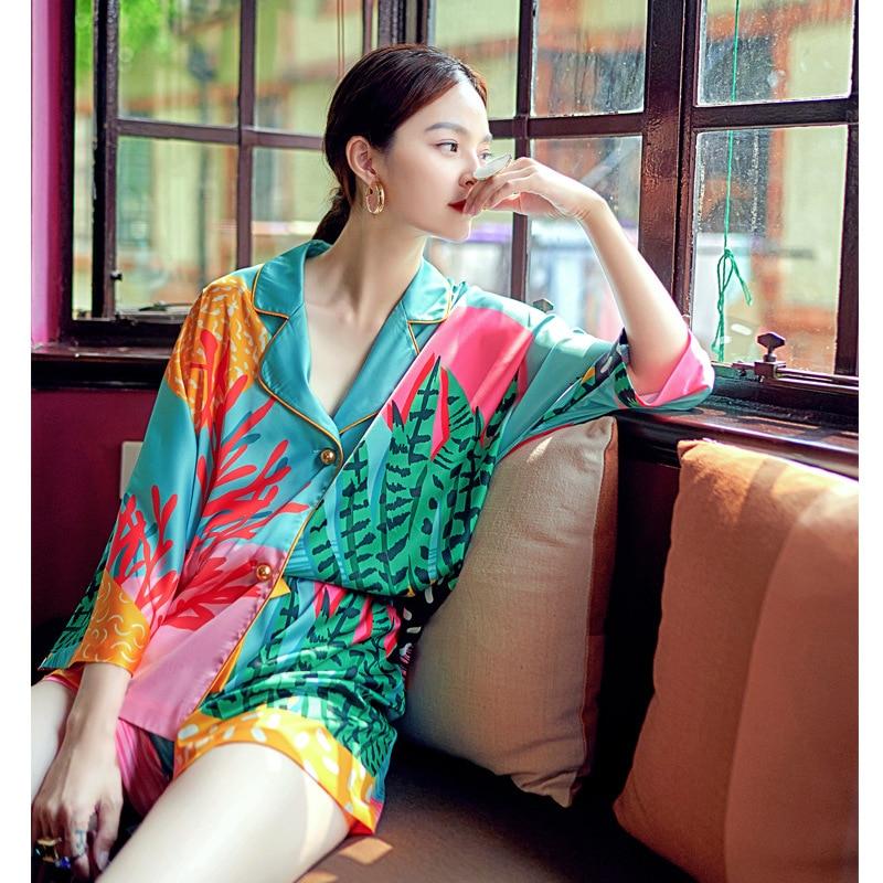 Новый летний женский пижамный комплект с рисованной искусства тропические растения пижамный комплект с принтом человека-подобный шелку но...