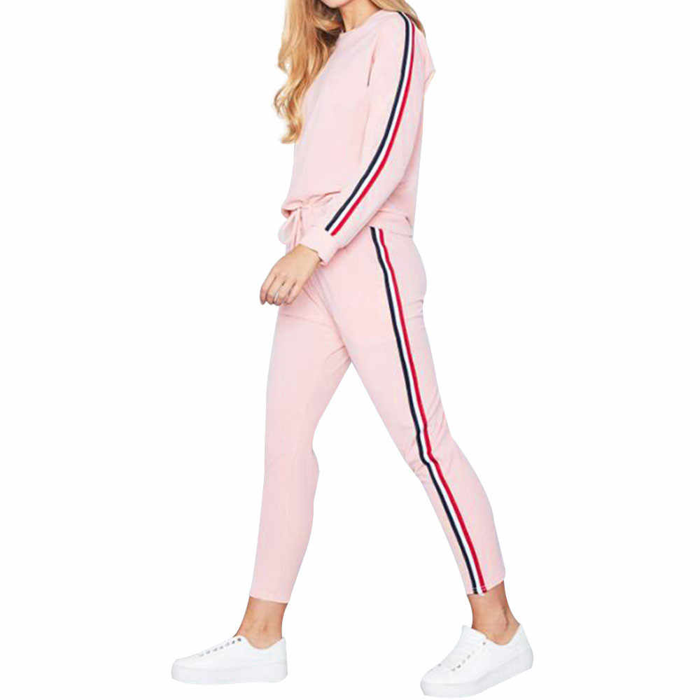 Trainingspak vrouwen grote maten 2 STUKS Trainingspakken Set Dames Gestreepte Actieve Sport Loungewear # D