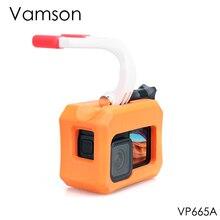 Vamson Bobber جراب عائم محمول باليد لـ Gopro Hero 9 ، جراب عائم برتقالي أسود ، غطاء تزلج مائي لـ Go pro9 VP665