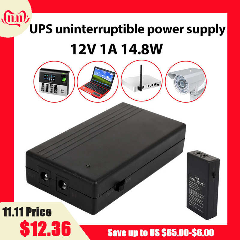12V 1A 14.8W multi-usages Mini UPS batterie de secours sécurité alimentation en veille alimentation sans interruption alimentation intelligente