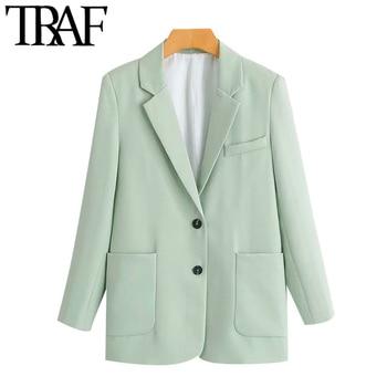 TRAF Women Fashion Office Wear Single Breasted Blazers Coat Vintage Long Sleeve Pockets Female Outerwear Chic Tops 1