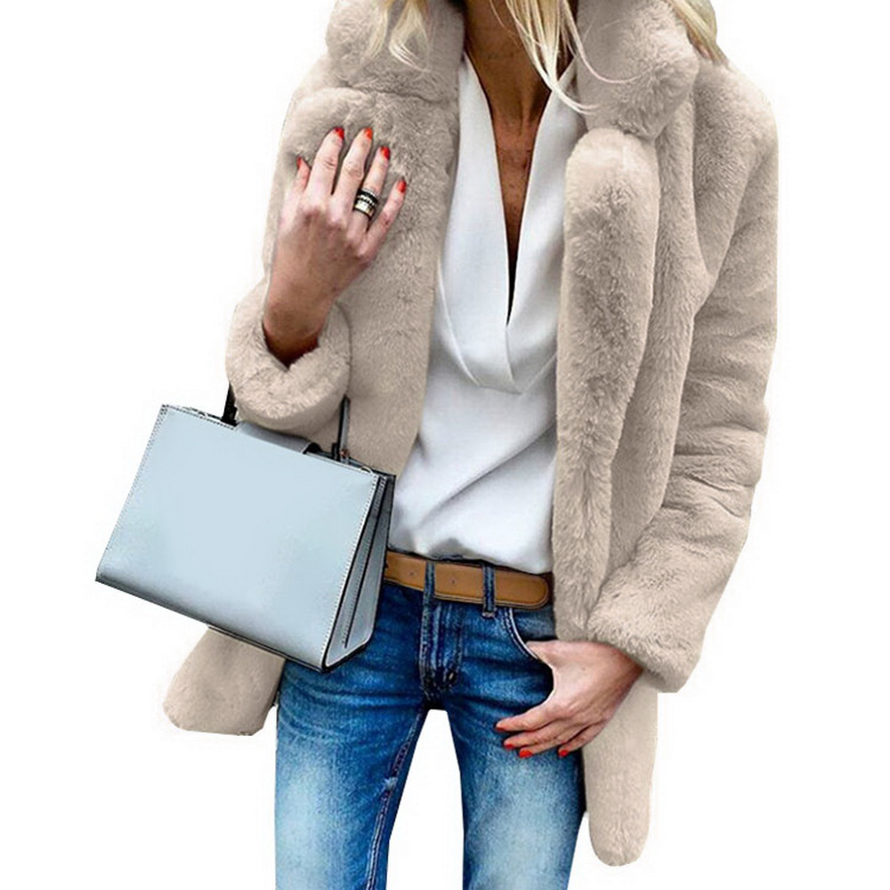 2019 Autumn Faux Fur Coat Women Winter Warm Soft Fur Coats Female Plush Pocket Jackets Casual Streetwear Solid Color Overcoat