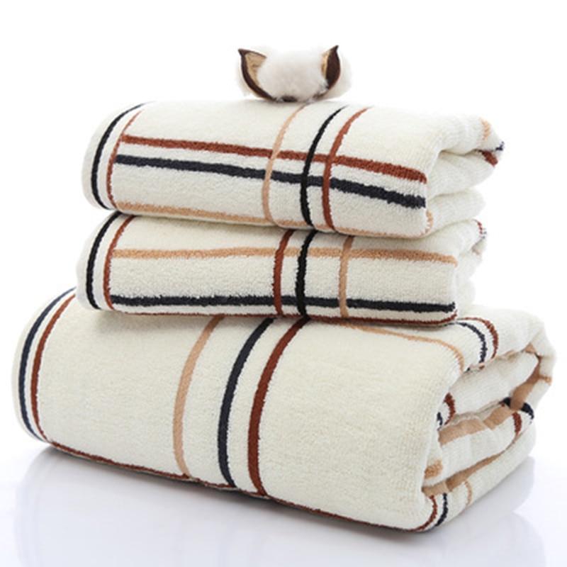 Towel Bath Hotel Special Soft Towel Perfect Simple Plaid Towel Set (2 * towel 1 * bath towel) Home Textiles 2