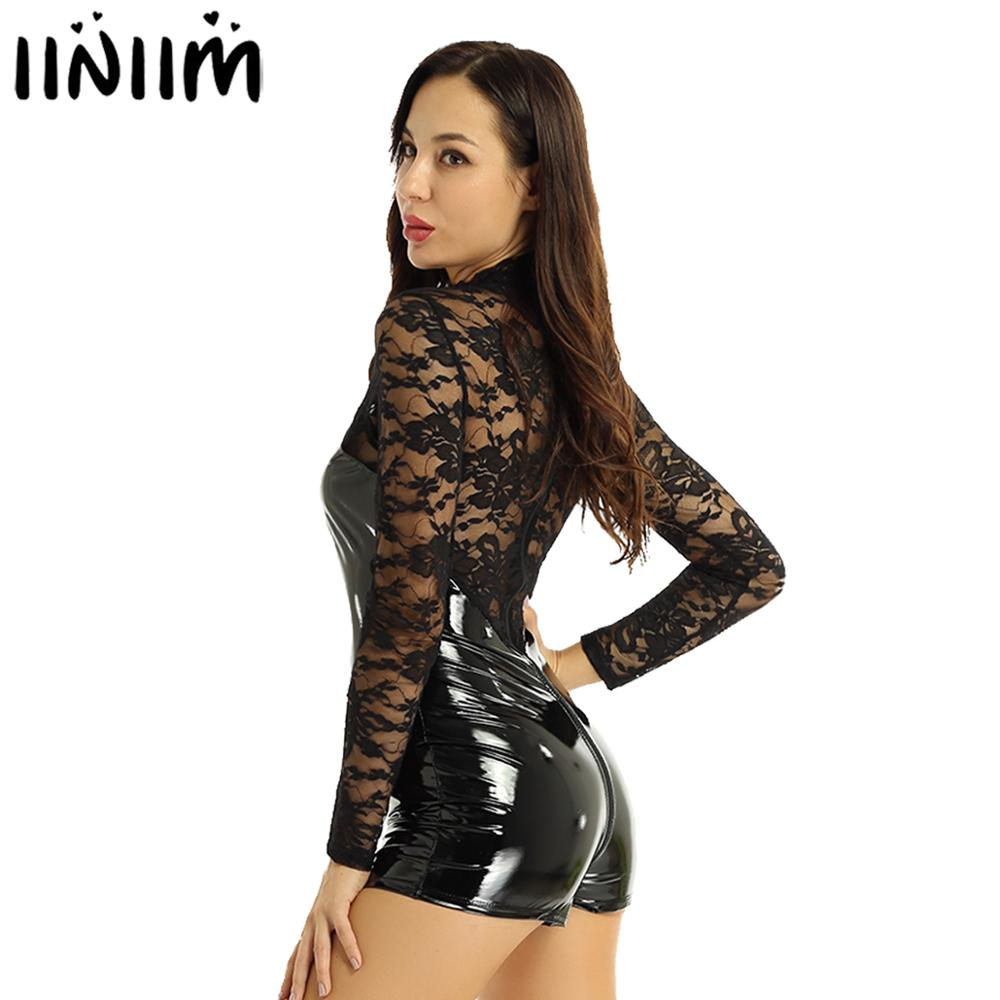 Womens Shiny Wetlook Leather Bodysuit Transparent Lace Latex Catsuit Babydoll Leotards Body Suit Female Sexy Club Wear Costume