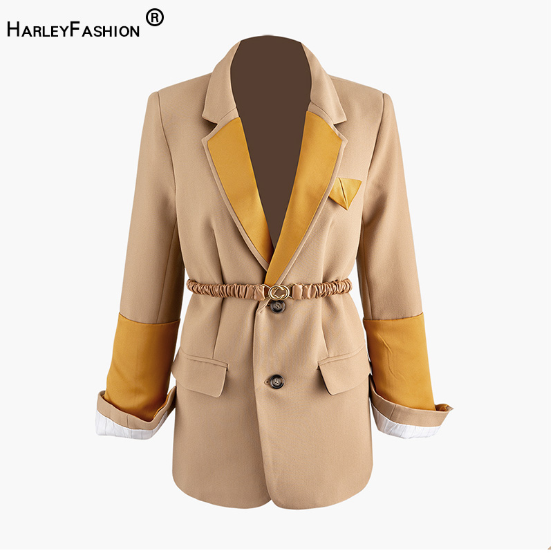 HarleyFashion High Quality European High Street Stylish Patchwork Collar Solid Khaki Designing Blazer With Belt