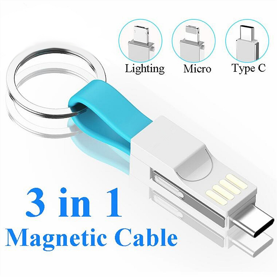 <font><b>3</b></font> <font><b>in</b></font> <font><b>1</b></font> USB Cable Micro USB Type C Cable For iPhone XR X XS Samsung HUAWEI 2A Mini <font><b>Keychain</b></font> Charger Charging Cables image