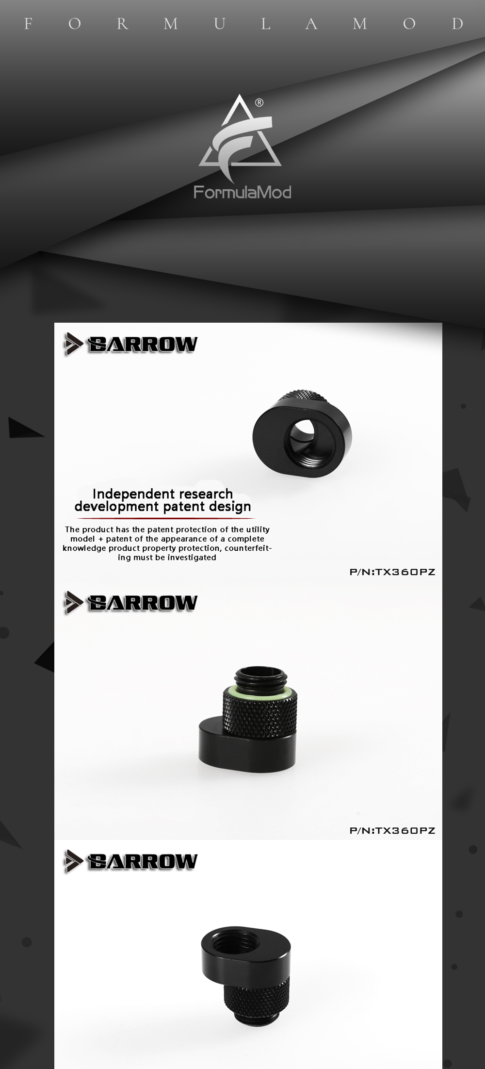 Barrow TX360PZ, 360 Degrees Rotary Offset Fittings , G1/4  6mm Male To Female Extender Fittings