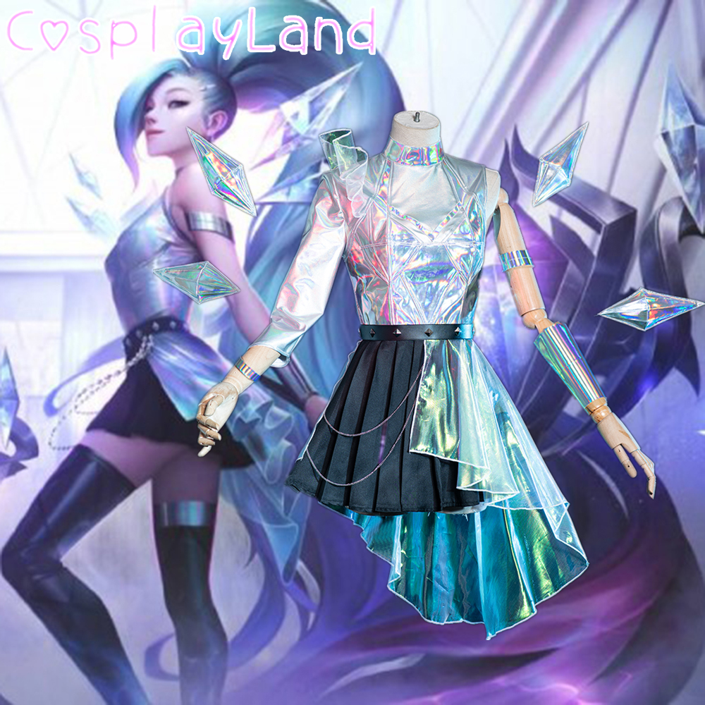 Disfraz de Cosplay de juego LOL, disfraz de KDA Seraphine LOL K/DA, disfraz de carnaval, disfraz de Halloween para mujeres