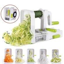 Spiralizer affettatrice di verdure con 4 lame rotanti taglierina verdura Pasta Spaghetti tagliatelle Maker cucina grattugia per verdure strumenti