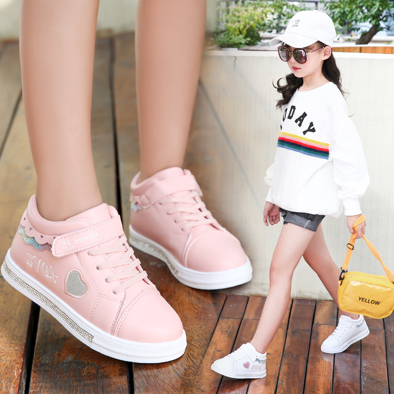 Children Shoes School Pu Tennis Shoes Lovely Girls Princess Casual Shoes Kids Running Sneakers Fashion Sequins Black/pink/white