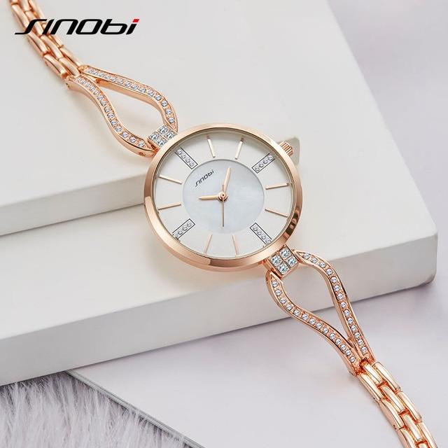 SINOBI relojes de lujo para mujer, pulsera de diamante, elegante, de cuarzo, femenino