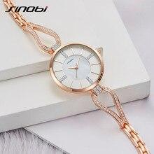 SINOBI יוקרה מותג נשים שעונים יהלומי צמיד שעון נשים אלגנטי גבירותיי בנות קוורץ שעוני יד נקבה שמלת שעונים מתנה