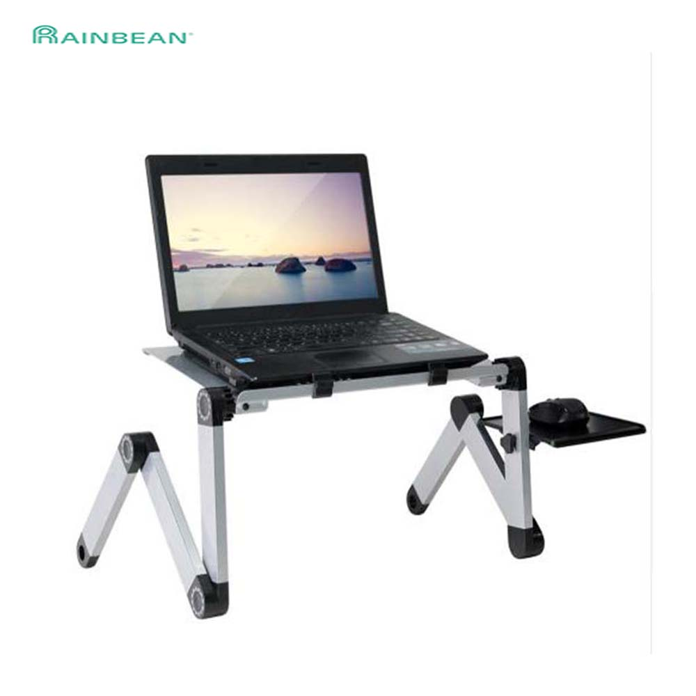 Portable Adjustable Aluminum Laptop Desk Stand Table Vented Ergonomic <font><b>TV</b></font> Bed Lap Stand Up Working Office PC Riser Bed Sofa Couch image