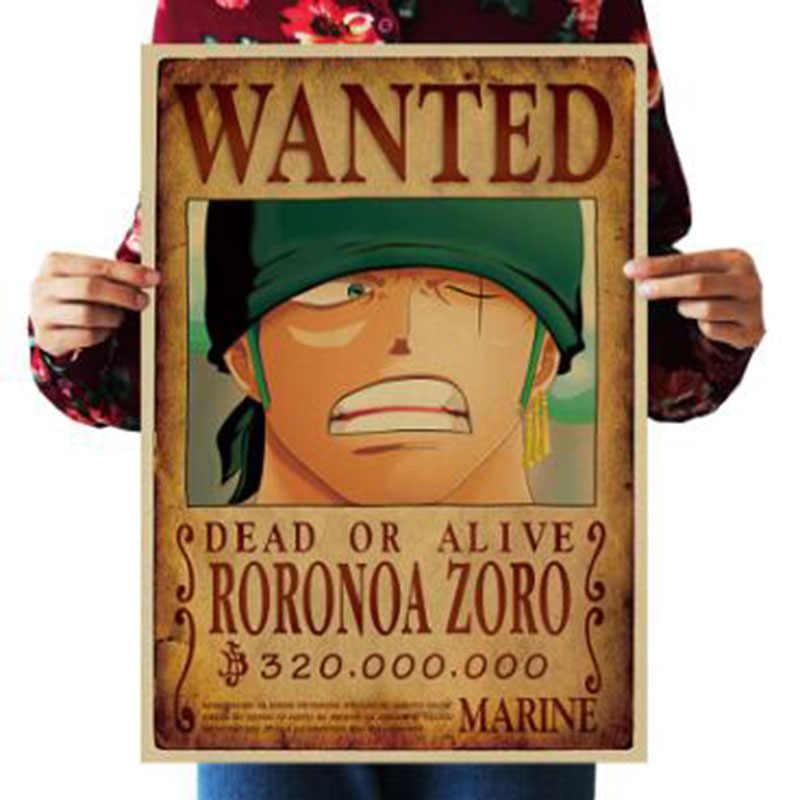 51.5x36cm Home Decor naklejki ścienne Vintage Paper One Piece poszukiwane plakaty Anime plakaty Luffy Chopper Wanted