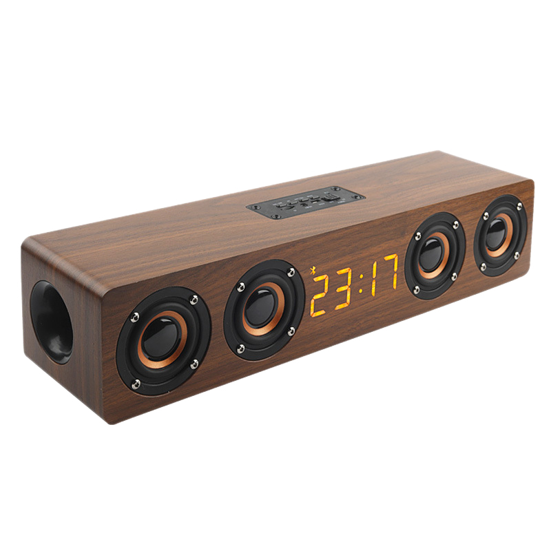ABKT-Wooden Portable Clock Wireless Bluetooth Speaker Stereo PC TV System Speaker Desktop Speaker Sound Post FM Radio Computer S