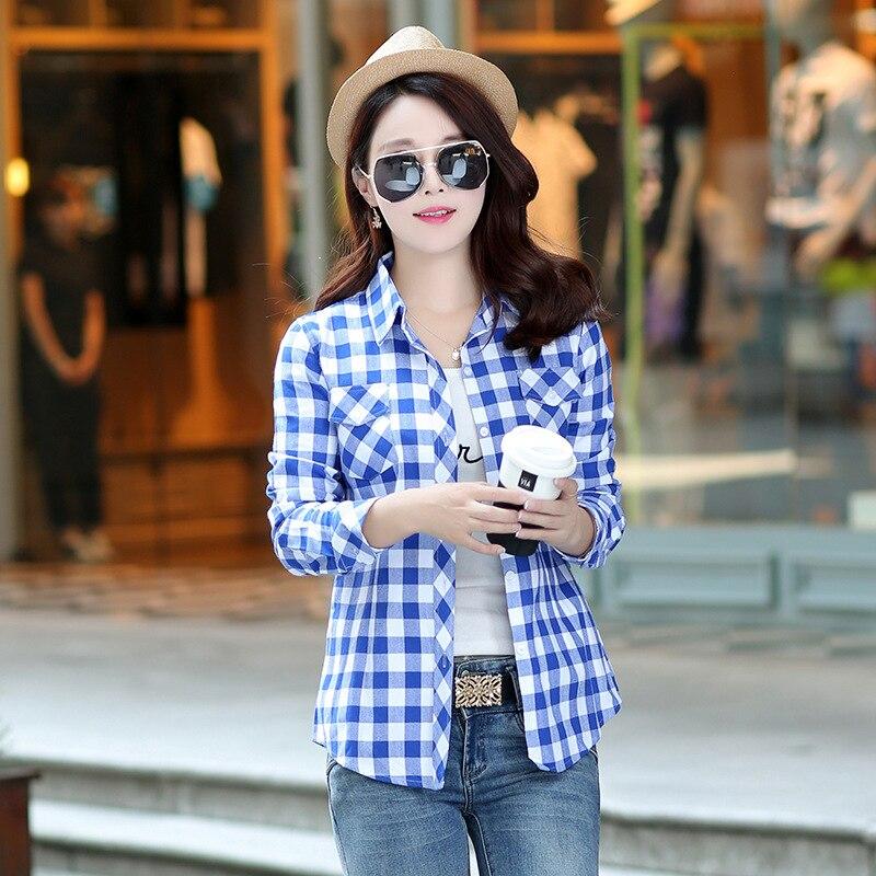 Autumn Spring Blouses Fashion Turn Down Collar Cotton Tops Women's Plaid Shirt Office Work Slim Long-Sleeve Shirts Blusas Mujer 14
