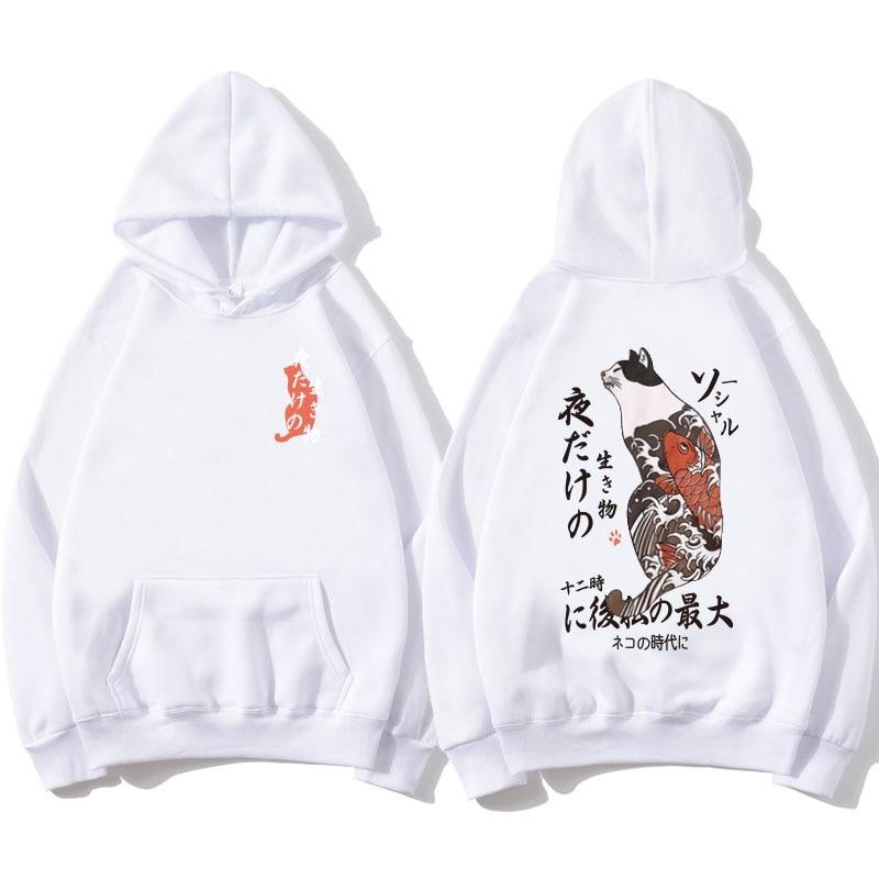Newest Japanese Funny Cat Fish Printed  Hoodies 2020 Men/Women Japan Style Hip Hop Casual Sweatshirts  Streetwear  Anime Comic