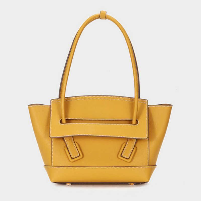 Luufan Bonito Meninas Saco De Viagem De Couro Genuíno Saco de Ombro de Couro Bolsa Feminina Moda Bolsa Da Senhora Marrom Preto Amarelo