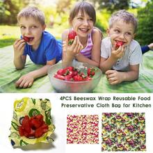 4PCS Beeswax Wrap Reusable Food Preservative Cloth Bag For Kitchen Multiple Uses Beeswax Food Preservation Cloth Wholesale цена