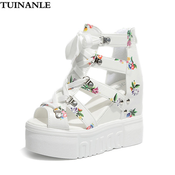 цена на TUINANLE Gladiator Sandals Women Summer Wedge Sandals 2020 Female Platform High Heels White Fashion Zip Open Toe Chunky Shoes