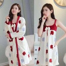 Pajama + Night gown 2pcs/Set Wear Leisure Home Cloth woman long Sleeve Flannel warm pyjama Girl Sleepwear Set Gown