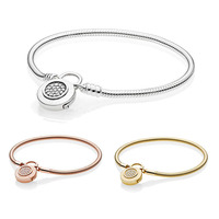 925 Sterling Silver Original Shine Moments Smooth Bracelet With Pans Signature Padlock Rose Gold for Women DIY Charms Jewelry