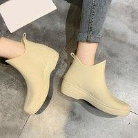 Regen Stiefel Frauen Wasserdichte Gummi Schuh Nicht Slip Wasser Schuhe Hausfrauen Mark Shopping Plattform Schuhe Galoschen für Weibliche 2021