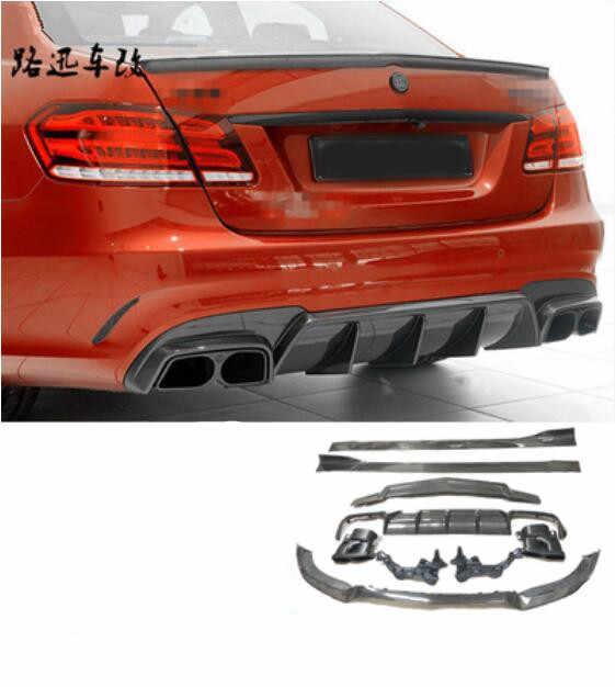 Alerón de fibra de carbono frente parachoques trasero difusor de labio con terminales de escape falda lateral Spoiler para Benz W212 E260 E300 E400 E63 AMG 2014 de 2015