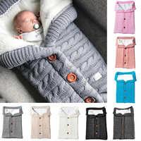 Loozykit bebê saco de dormir envelope inverno criança sleepsack footmuff carrinho de malha saco de dormir recém-nascido swaddle malha lã slaapzak