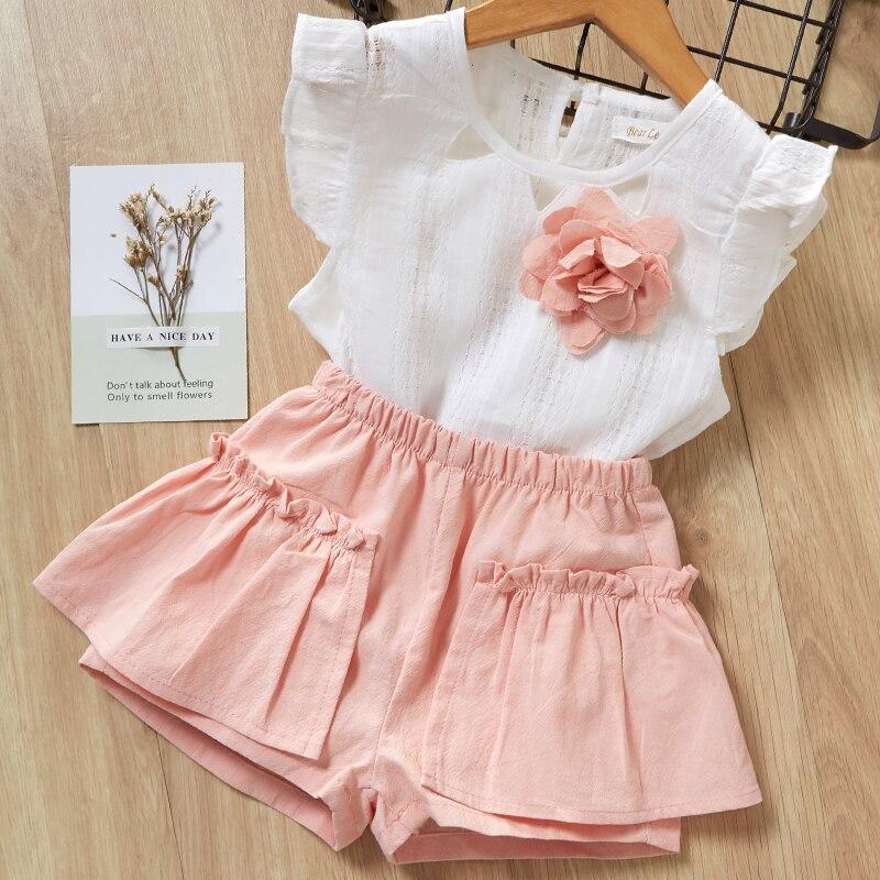H41962a854d944386a74119c3217edd3di Menoea Girls Suits 2020 Summer Style Kids Beautiful Floral Flower Sleeve Children O-neck Clothing Shorts Suit 2Pcs Clothes
