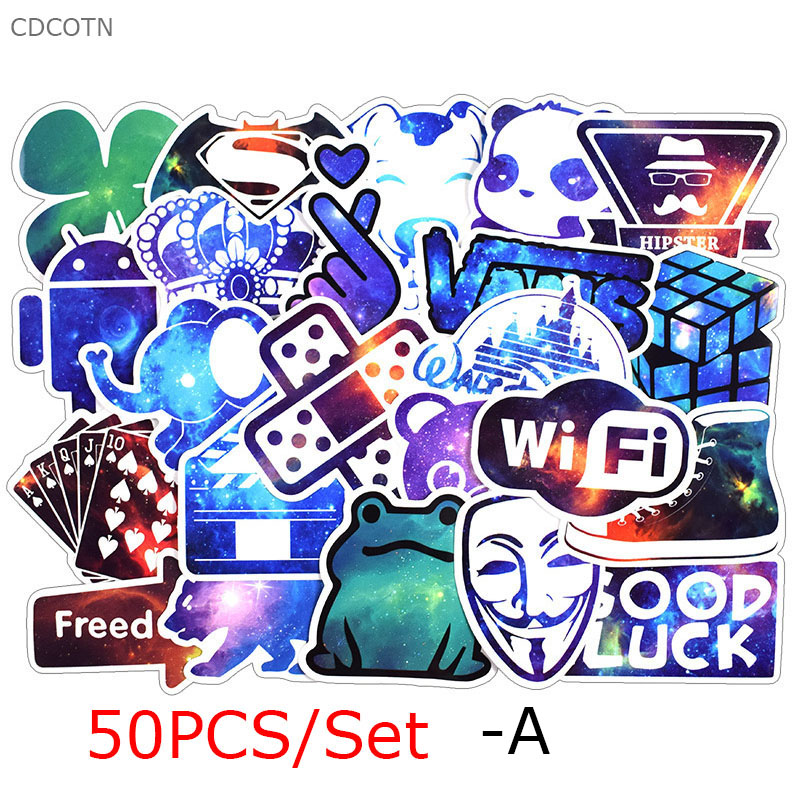 50pc Cartoon Decorative Children Stickers For Laptop Motorcycle Skateboard Decal