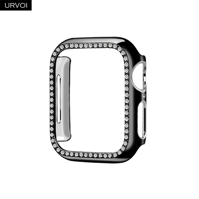 URVOI Case for Apple Watch series 5 4 32 electroplating Plastic bumper hard frame shiny zircon broken glass gem cover for iWatch | Fotoflaco.net