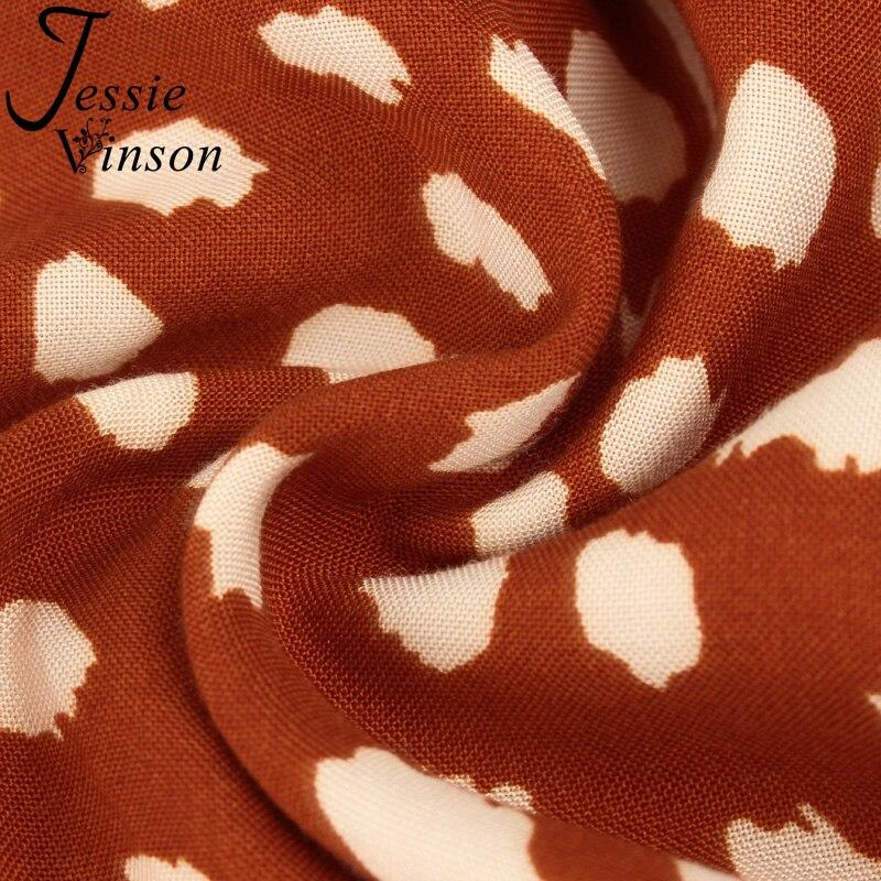 Jessie Vinson Dots Print White Summer Dress Women Short Sleeve Tunic Midi Dress Casual  Boho Beach Dress Vestidos 2020 ZA Dress 5