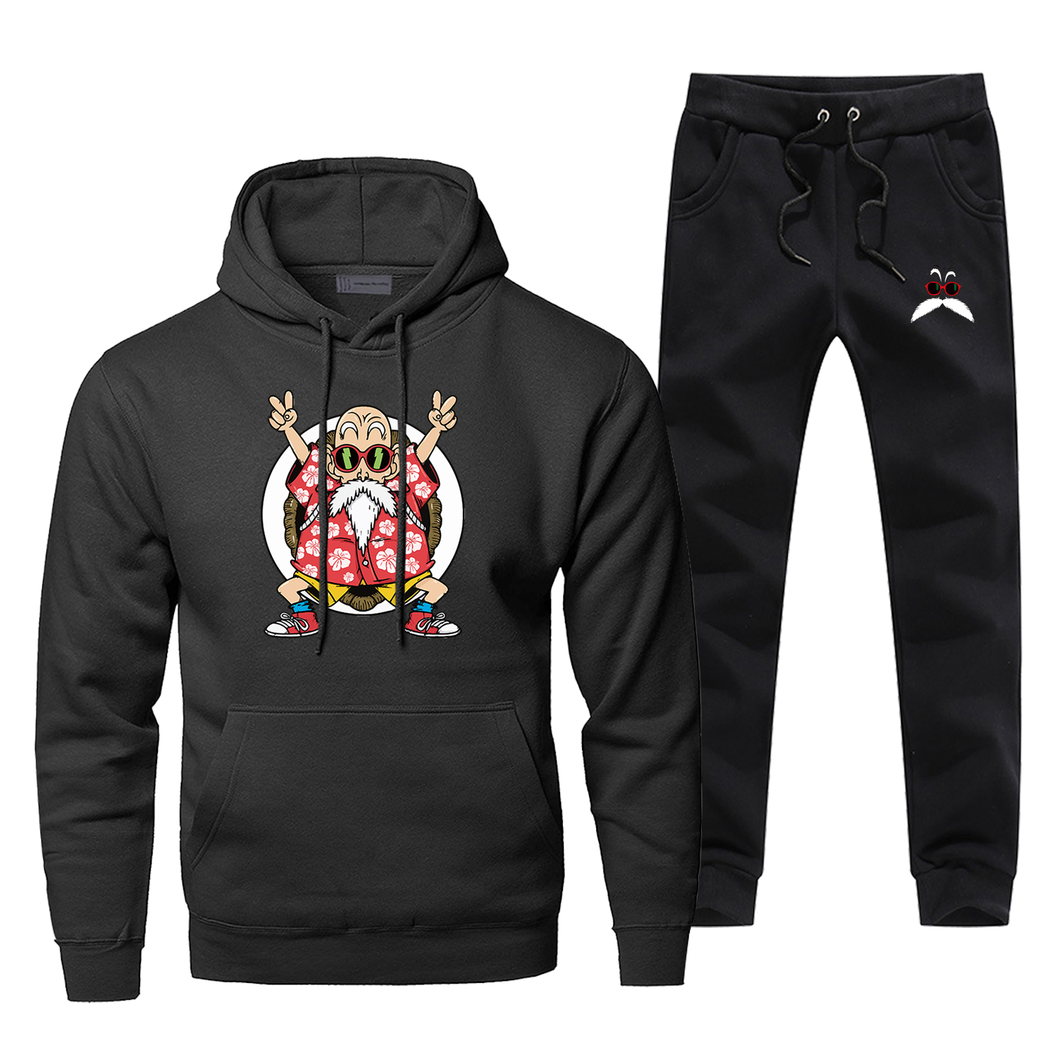 Hoodies Pants Sets Men Master Roshi Dragon Ball Suit Tracksuit 2 Piece Tops Pant Sweatshirt Funny Sportswear Autumn Sports Set