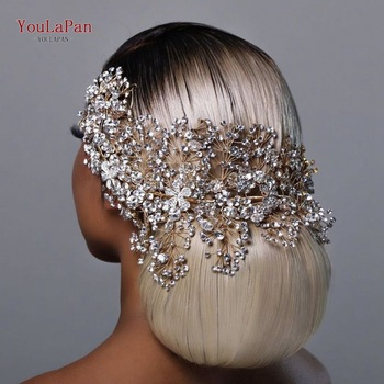 TOPQUEEN HP240 Golden Wedding Hair Jewelry Luxury Crystal Hair Ornaments Rhinestone Wedding Crown Woman Tiara Pageant Crown 1