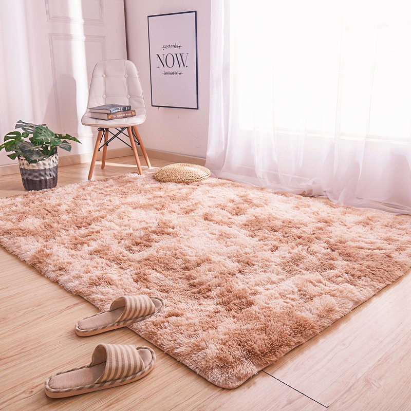 Solid Color Carpet Tie Dyeing Plush Soft Carpets For Bedroom Living Room Anti-slip Floor Mats Bedroom Water Absorption Carpet