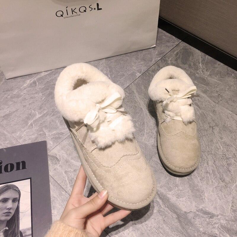 Women's shoes snow boots short tube 2019 winter plus velvet warm non-slip thick-soled lace-up cotton shoes 18