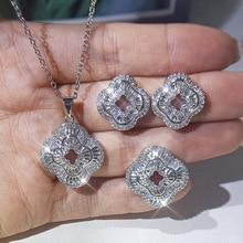 Square 100% AAA Zirconia Ring Earring Necklace Jewelry Set Women's Wedding Dance Fashion Shining Jewelry Gift Set for Women