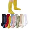 Frühjahr Neue Jungen und Mädchen Socken Einfarbig Rippen Kniehohe Lange Socken für Jungen Bootes Socken Kinder Bein Wärmer sockken meias