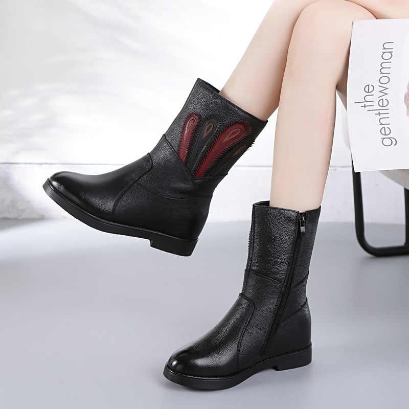 DONGNANFENG Yeni Varış kadın Anne Bayanlar Kadın Kadın Inek Hakiki Deri Fermuar Ayakkabı Çizmeler Orta Buzağı Yumuşak Kış Peluş kürk Sıcak Süperstar Rahat Kaymaz Boyutu 35-40 FJ-3301