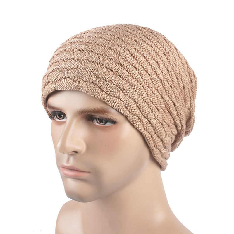 Skullies Beanie Otoño e Invierno sombrero de lana monocromo para hombre escamas de pescado más gorro de punto de cúpula de terciopelo pliegues gorras salvajes gruesas cálidas
