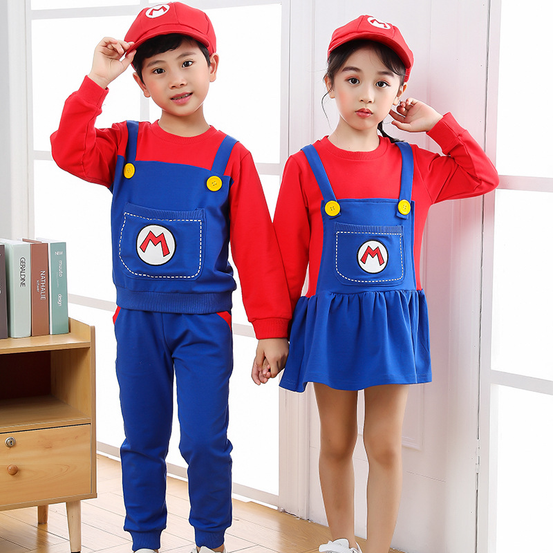 2021 New Year Christmas Clothes Super Marios Children's Bib Dress Luigi Cosplay Costume Anime Family Set Boys Girls Kids Gifts 6