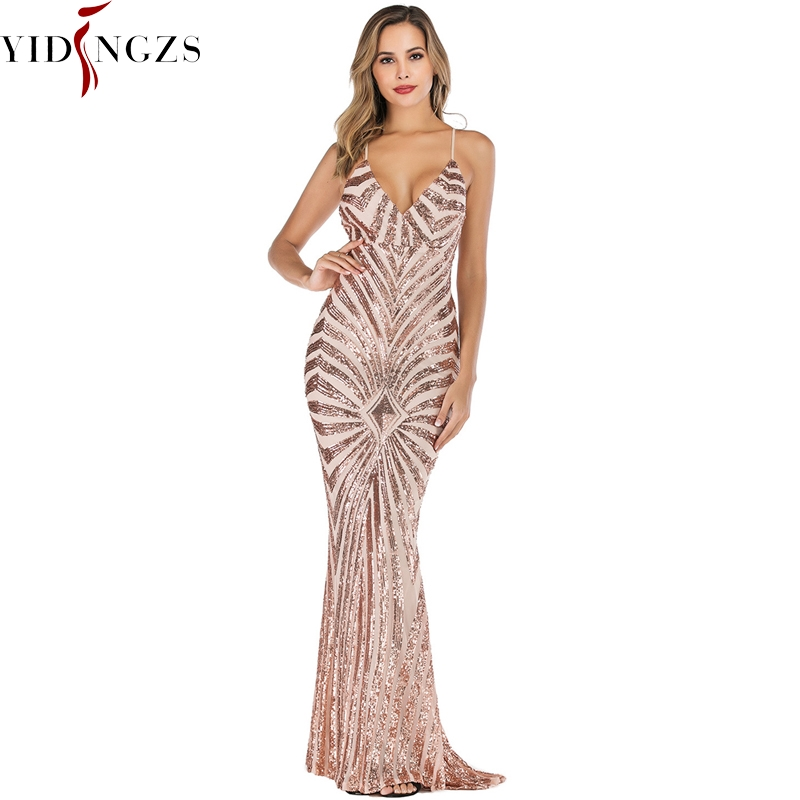 YIDINGZS  Mermaid Gold Sequins Evening Dress Straps Party Sexy Vestido De Festa Long Prom Gown YD19009
