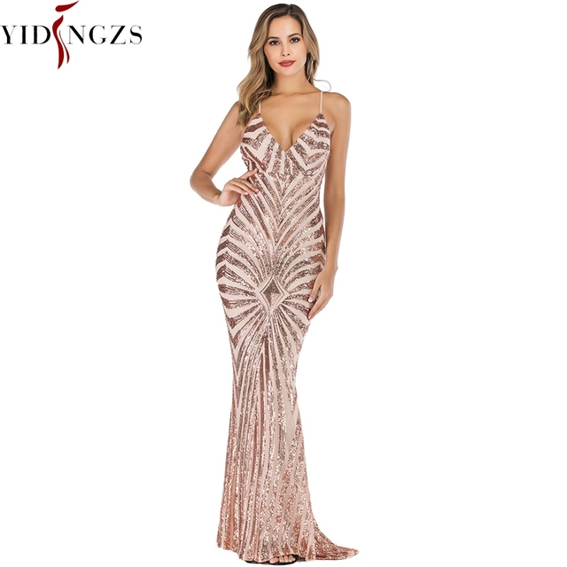 YIDINGZS Mermaid altın Sequins akşam elbise askıları parti seksi Vestido De Festa uzun balo elbisesi YD19009