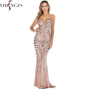 Image 1 - YIDINGZS Vestido De noche con lentejuelas, dorado, sirena, Sexy, para fiesta, largo, YD19009