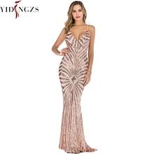 Yidingzs vestido de festa de sereia, de ouro, lantejoulas, sexy, longo yd19009