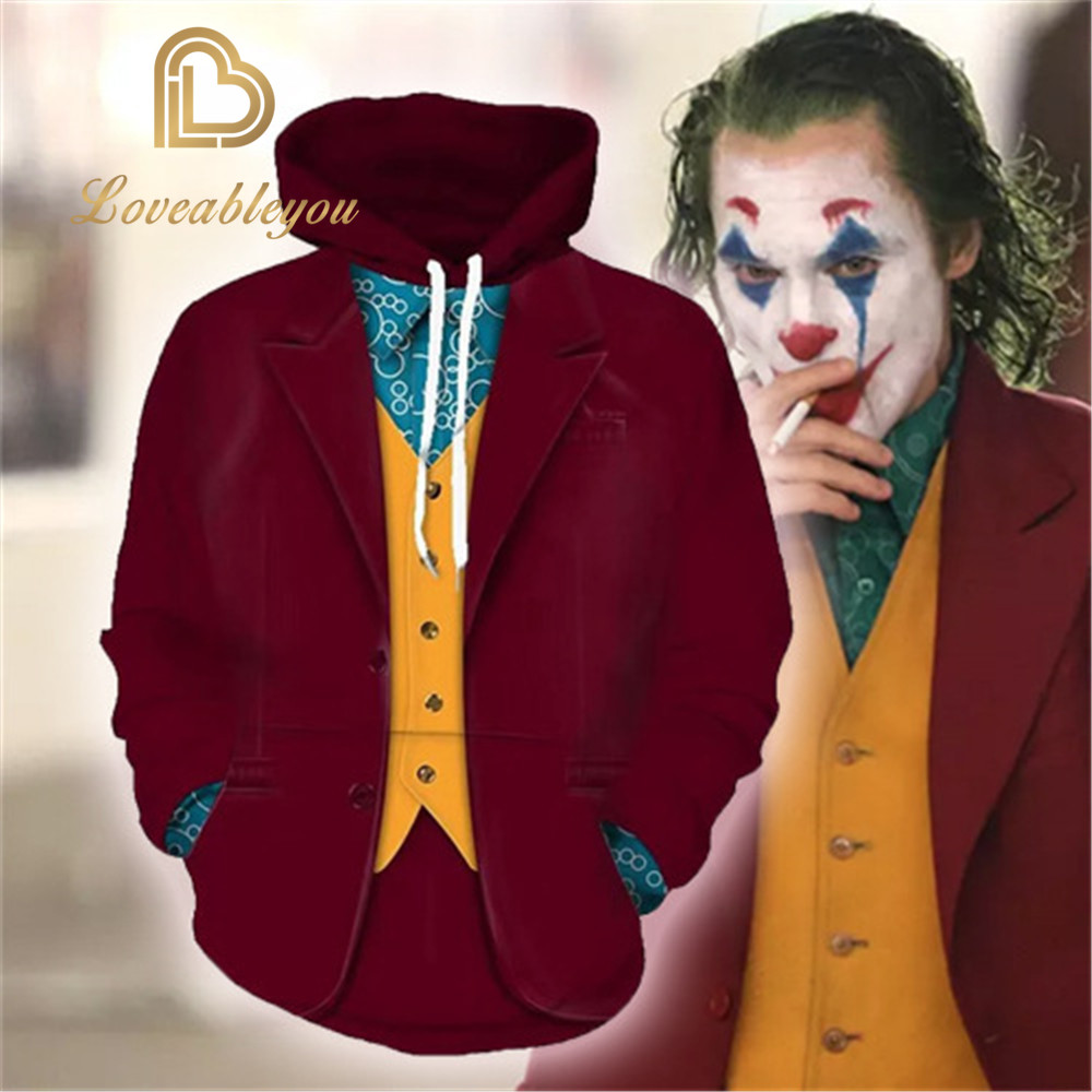 Joker 3D Hoodies 2019 Movie Joker Arthur Fleck Hip Hop Hooded Sweatshirt Cosplay Costume Men Women Clohting Jackets Kids Tops