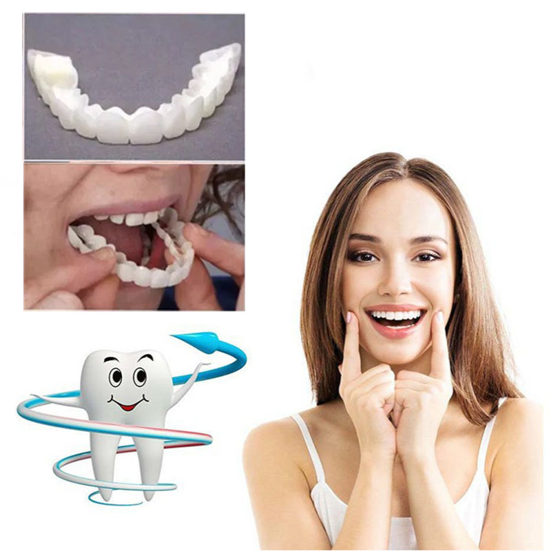 Perfect Smile Upper False Fake Tooth Cover Snap On Teeth Smile Cosmetic Denture Care Teeth Simulation Braces Whitening Set
